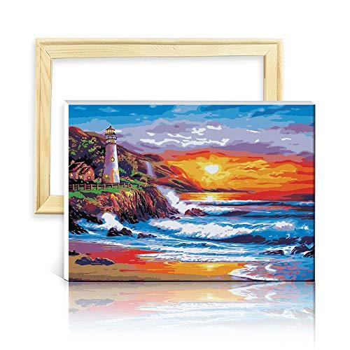 decalmile Pintura por Número de Kits DIY Pintura al óleo para Adultos Niños Faro Costero 16'X 20' (40 x 50 cm, con Marco de Madera)