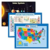 3 Pack: Solar System Poster + Periodic Table of the Elements + USA Map for Kids - Set of 3 Educational Charts (LAMINATED, 18' x 24')