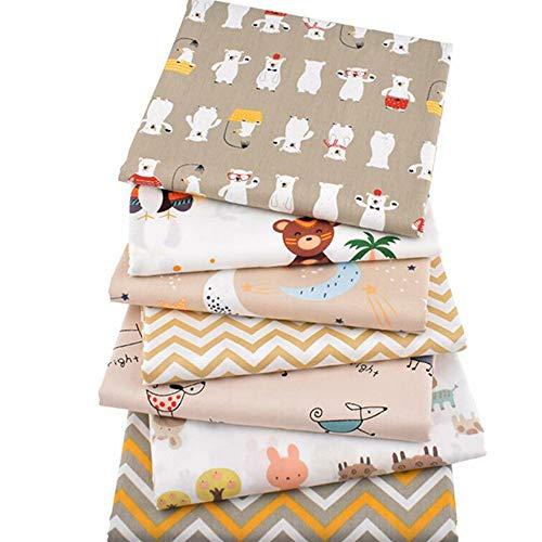 7 Piezas/Lote Serie de dibujos animados Impreso Tela de algodón de sarga, 40cmx50cm Patchwork Cloth,DIY costura acolchado material para bebé y niños