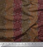 Soimoi Braun Seide Stoff Streifen & Mandala Kaleidoskop