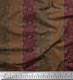 Soimoi Braun Samt Stoff Streifen & Mandala Kaleidoskop