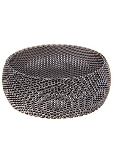 Leslii Damen-Armband Premium breiter Armreif Mesh Look Statement-Armband schwarzes Modeschmuck-Armband in Schwarz