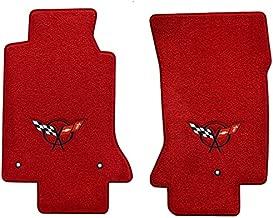 1997-2004 C5 Corvette Red Floor Mats - Black Crossed Flags Logo