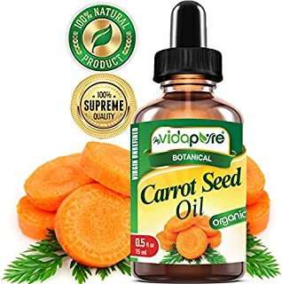 ORGANIC CARROT SEED OIL WILD GROWTH Daucus Carota RAW. 100% Pure VIRGIN UNREFINED Undiluted 0.5 Fl.oz.‐ 15 ml. For Skin, Face, Hair,Lip and Nail Care.bymyVidaPure