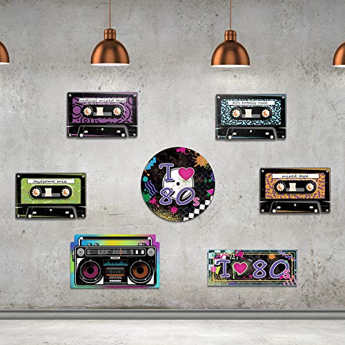 80s Hanging Cutouts Party Set featuring cassette tapes, boombox, I loveheart 80s and boombox. A very colourful and attractive addition for your retro party.