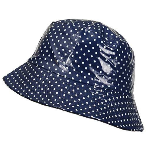 TOUTACOO, Cappello da Pioggia in Vinile Impermeabile Blu (Piselli)