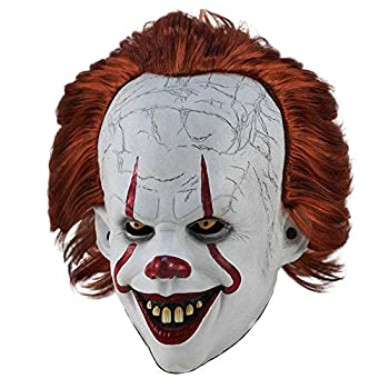 Scary IT Pennywise Clown Mask Creepy Clown Mask for Cosplay Prop Decoration  Ordinary  White