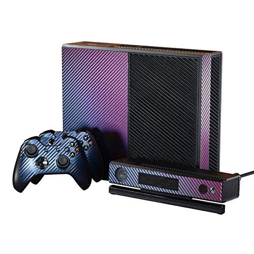 eXtremeRate Skin Folie Sticker Aufkleber Faceplates Klebefolie Schale für Xbox One Konsole,2 Controllers und Kinect (Lila Blau)
