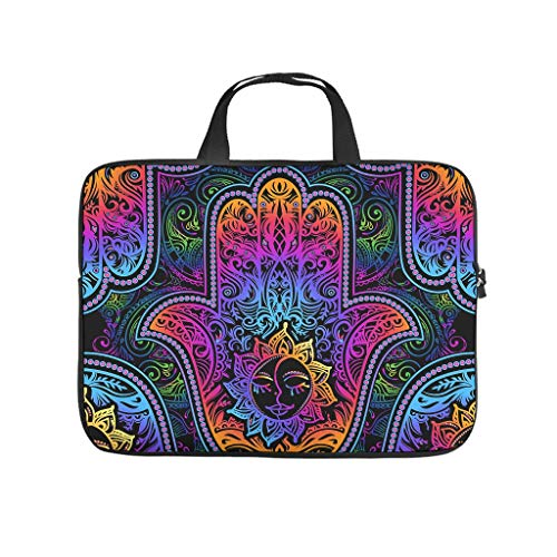 Religion Sun Hamsa Hand Laptop Sleeve Funny 3D Tablet Carrying Case Water Repellent Neoprene Fabric Notebook Sleeve for Teen Students White 12inch