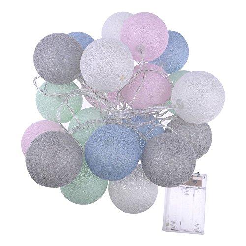 ECOSWAY-Baumwoll-Lichterkette, batteriebetrieben, 20 LEDs, Baumwollkugel-Lichterkette, LED-Lichterkette, für Zuhause, Party, Hochzeit, Dekoration, für Innen- und Außenbereich. #3