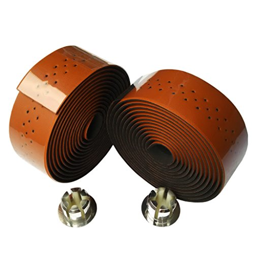 KINGOU Brown Synthetic Leather Road Bike Handlebar Tape Bicycle Bar Wraps - 2PCS Per Set