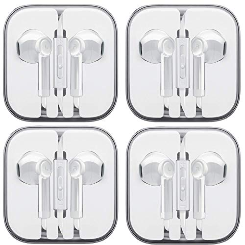 Stereo Earphone Headphones with Microphone - Classic Earbuds for MP3, Tablets, and Cell Phones, Computer, Laptop in The Office, Classroom or Home (White) 4 Pack