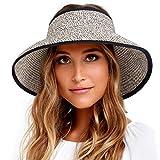 FURTALK Sun Visor Hats for Women Wide Brim Straw Roll Up Ponytail Summer Beach Hat UV UPF Packable Foldable Travel (Mix Khaki, One Size, m)