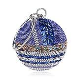 Ronda Gala de Baile del Bolso de Embrague del Diamante del Oro del Monedero del Bolso de Las Mujeres de Oro Novia de la Boda cristalina del Diamante de la Cadena del Embrague Blue MiniMax Length20cm