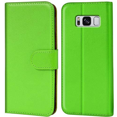 Verco Galaxy S8 Hülle, Handyhülle für Samsung Galaxy S8 Tasche PU Leder Flip Case Brieftasche - Grün