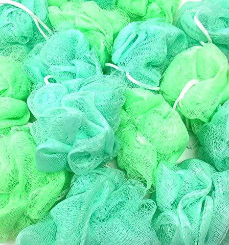 Loofah Lord 12 Green Bath or Shower Sponge Loofahs Pouf Small Mesh WHOLESALE BULK LOT
