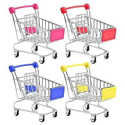 HNYYZL Bestsupplier Mini Supermarket Handcart, 4 Pcs Mini Shopping Cart Supermarket Handcart Shopping Utility Cart Mode Storage Toy from HNYYZL