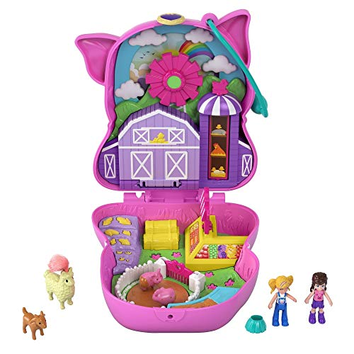 Polly Pocket Cofanetto Fattoria del Maialino, con 2 Micro Bambole, Animaletti e Accessori, Giocattolo per Bambini 4+Anni, GTN16