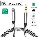 Cable Auxiliar para iPhone 11 Cable Auxiliar para Auto a Jack Adaptador de 3.5mm para iPhone 7Plus/8/X/XS/XR/11 a Radio de Coche/Adaptador de Altavoz/Auriculares Compatible con Todos los iOS
