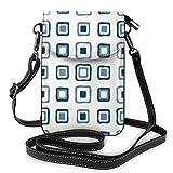 Goxegag Cartera multifuncional de piel para teléfono móvil, ligera y pequeña, bolso de viaje con correa ajustable para mujeres, cuadrados azules en plata