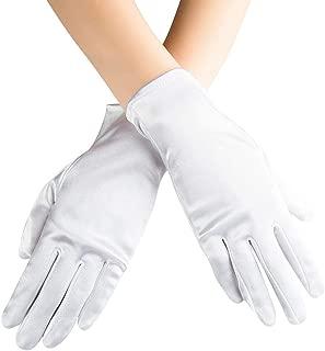 Short Satin Gloves for Women Opera Gloves Wrist Length