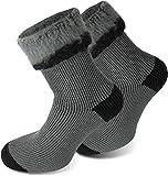 Polar Husky® 3 Paar Sehr warme Socken mit Vollplüsch & Schafwolle/Nie Wieder kalte Füße! Farbe Extrem/Hot/Grau/Schwarz Größe 43/46