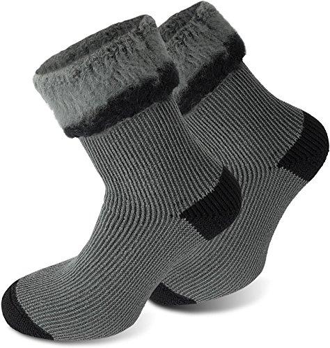 Polar Husky® 3 Paar Sehr warme Socken mit Vollplüsch und Schafwolle/Nie Wieder kalte Füße! Farbe Extrem/Hot/Grau/Schwarz Größe 43/46
