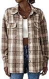 NDCATHE Camisa de manga larga a cuadros para mujer, estilo casual, con bolsillo