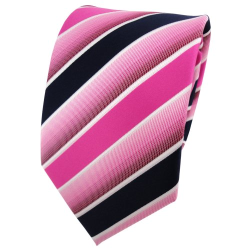 TigerTie - Corbata - pink rosa azul oscuro blanco rayas