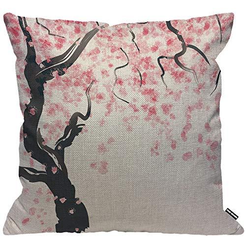 HGOD DESIGNS Federa per cuscino giapponese con fiori di ciliegio albero decorativo per la casa da uomo/donna soggiorno camera da letto divano sedia 45 x 45 cm federa 45 x 45 cm