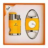 PIPITA Cigar Lighter and Cigar Cutter Set (2pcs/Set), Jet 4 Flame Cigar Lighter Torch and Cigar Cutter, Packing with Nice Gift Box (Yellow, Lighter+Cutter)
