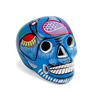 FANMEX - Fantastik - Calavera Mexicana Decorativa de cerámica Mediana (Azul Claro)