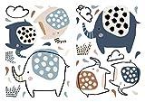dekodino Pegatina de pared elefantes coloridos con puntas juego de adhesivos