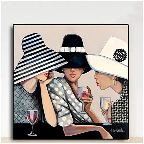sjkkad Amerikaanse vrouwen portret canvas schilderij poster en prints Scandinavische muurschildering voor woonkamer café bar decor 50x50 cm geen lijst