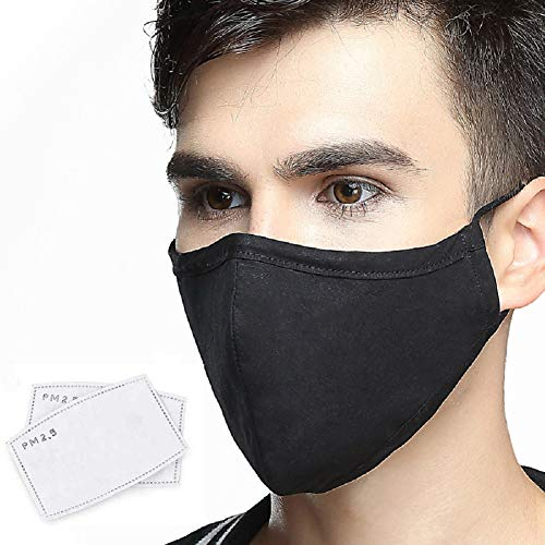 Cotton Black Face Masks Washable, Face Covering with Breathable Comfort Loops, Size Fit Big Face, Reusable Cotton Mask Men Women, Nose Curved Cover Design to Breath-Black Unisex