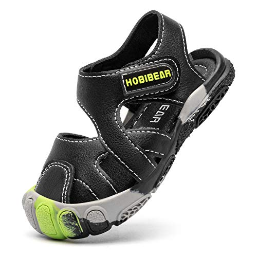 WOUEOI Toddler Boys Sandals with Closed Toe Kids Summer Water Shoes for Outdoor(9 Toddler-Black 1)