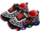 2019 Otoño Nuevos Zapatos Intermitentes para Niños Zapatos Deportivos para Niños Zapatos Spider-Man Zapatos De Suela Blanda (EU28,Negro)