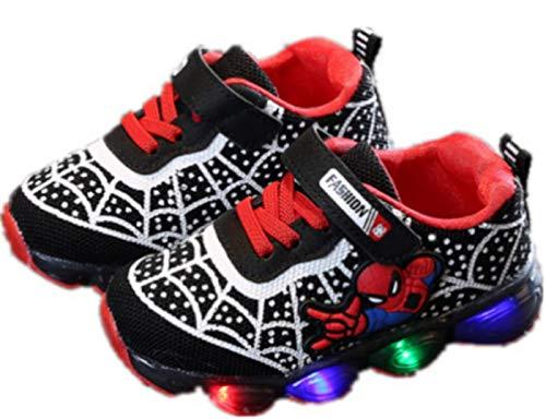 2019 Otoño Nuevos Zapatos Intermitentes para Niños Zapatos Deportivos para Niños Zapatos Spider-Man Zapatos De Suela Blanda (EU27,Negro)