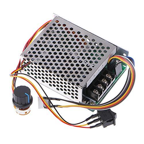 RUIZHI Controlador de velocidad de motor de CC continuo 10V-55V 12V 24V 36V 40A, con interruptor de freno de marcha atrás, potenciómetro ajustable y pantalla digital