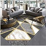 KIKCY Tapis pour salon, chambre à coucher, salon, cuisine - Moderne - Noir et blanc - Gris - Marbre - Fil doré - Tapis rectangulaire (160 x 200 cm)