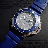YSSWATCH Reloj Mecánico Automático Clásico para Hombres Zafiro Acero Inoxidable Azul Goma Cerámica Bisel Gris 47Mm Relojes Luminosos