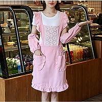 CASSO 腰の女性のオーバーオールを住居個々の層を調理する2PCS / LOTファッション王女エプロンキッチン エプロン (Color : Pink+sleeves)