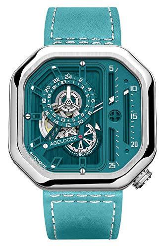 Agelocer Reloj analógico luminoso cuadrado mecánico de acero inoxidable de 44 mm para hombre, Nk_5808a8,