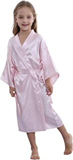 Kids Satin Floral Kimono Robe-Flower Girl Bath Robe for Wedding Party Gift