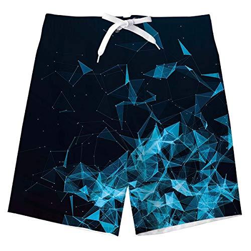 Geometrie Schwimmhose Jungen Sommer Badehose 3D Blau Schnell trocknende Surfen Boardshorts Badehosen mit Taschen für Kinder 14-16 Jahre