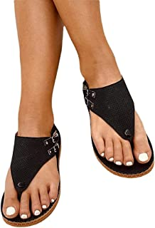 Hengyuan T-Shaped Perforated Sandals Casual Breathable Women's Sandals, Mesh Open Toe Flat Flip Flops Summer Outdoor Beach...