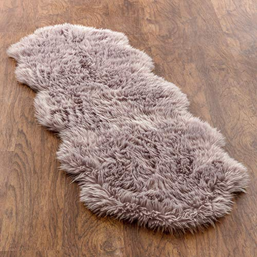 Chanasya Super Soft Faux LongFur Suede Fake Sheepskin for Sofa Couch Stool Vanity Chair Cover Luxurious Fluffy Rug Dusty Pink Solid Shaggy Area Rugs for Living Bedroom Floor - Mauve 2ftx6ft