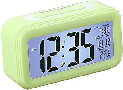 Kaever Reloj de Alarma multifunción con Pantalla Digital Led Inteligente Inteligente Luminoso Reloj de Temperatura Calendario
