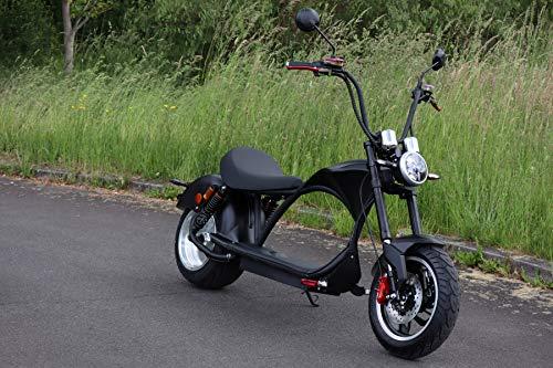 ES-TOYS Scooter eléctrico Coco Bike E-Chopper con permiso de circulación de hasta 48 km/h, alcance de aprox. 50 km, 60 V, 2000 W, batería de 20 Ah (negro)