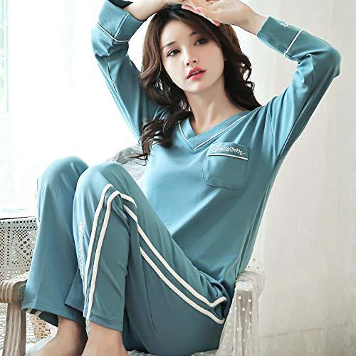 uwant:)sexy clothes Pyjamas Frauen Frühling und Herbst Baumwolle Langarm Sommer Dünnschliff Zweiteilige Baumwolle kann außerhalb V-Ausschnitt Pullover Home Service @ L_5902 Lake Blue getragen Werden